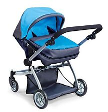 Deluxe Twin Doll Pram/Stroller Blue & Grey Adjustable Handle and Carriage Bag