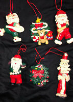 6 Christmas Ornaments Santa Golf, Tennis, Baseball Polymer Clay Handcrafted