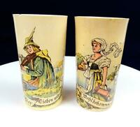 """VILLEROY BOCH  POTTERY 2 PC FIDDLER AND BARMAID 5"""" BEER DRINKING CUPS 1874-1909"""