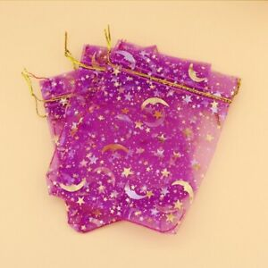 20 X HOT PINK STAR MOON ORGANZA FAVOUR BAGS SMALL 9cm X 7cm