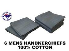 6 Grey Mens Business Handkerchiefs 100 Pure Cotton Hankies 40x40cm Hanky