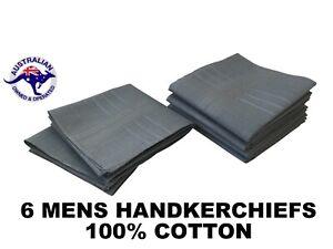 6 Grey Mens Business Handkerchiefs 100% Pure Cotton Hankies 40x40cm Hanky