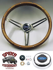 "1965-1969 Fairlane Ranchero Galaxie 500 steering wheel BLUE OVAL 15"" WALNUT"