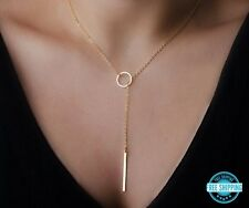 Simple Minimalist Gold Open Circle Bar Lariat Y Fashion Necklace Free Ship USA