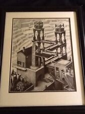 """M. C. Escher Double Matted Framed Waterfall Print 22"""" H X 19"""" W"""