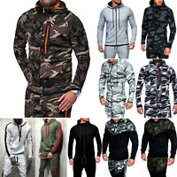 Mens Camouflage Hoodies Hooded Sweatshirt Camo Coat Jacket Outerwear Casual Tops