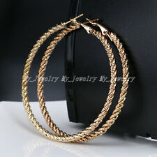 Stunning Large Big Gold Plated Hoop Earrings Large Circle Creole Chic Hoops 6CM