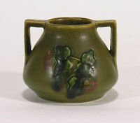 Rookwood Pottery carved matte green floral 2 handle Arts & Crafts Charles Todd