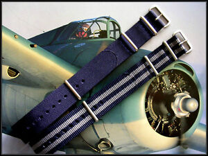18mm Blue-Grey NATO G10 Prem nylon watchband 2pak RAF strap Bond IW SUISSE 20 22