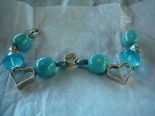 """VTG BRACELET LADIES IN CERAMIC AND GLASS BEADS SILVERTONE AND PALE BLUE 7"""" LONG"""