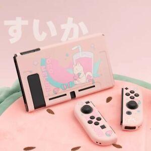 Kawaii Cute Soft Case Cover Nintendo Switch & Joycon Pink Watermelon Summer Cat