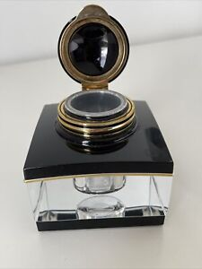 Genuine Montblanc Black & Gold Crystal Inkwell Tintenglas - Removable Reservoir