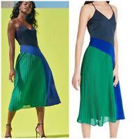 CUSHNIE Target NWT Colorblock Pleated Slip Dress Blue Green Midi Size 10