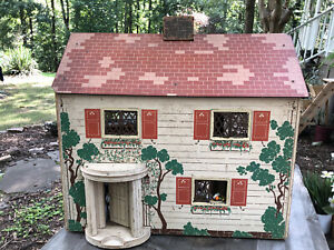 1940s Large Keystone Tudor Dollhouse With Lots Of Furniture And Accessories