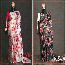 Latest Floral Saree Indian Japan satin silk Print Designer Saree Party Wear Sari