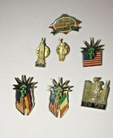 Lot of 7 vintage Statue of Liberty New York City Pins Ellis Island, Empire State