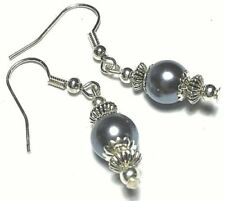 Butterfly Fastening Pearl (Imitation) Silver Plated Handcrafted Earrings