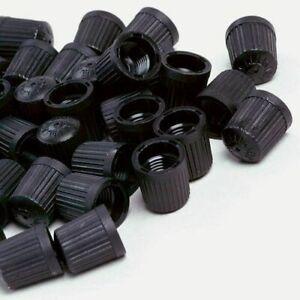 100 x Black Plastic Valve Dust Caps for Car Bike Van Tyre Tubes