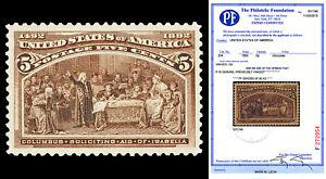 Scott 234 1893 5c Columbian Issue Mint Graded XF 90 XQ LH with PF CERTIFICATE!