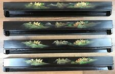 Vintage Chinese Fujian Lacquerware Mahjong Tile Rack Tray Holder Set of 4 Black