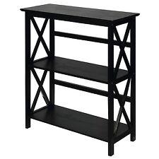 Casual Home 324-32U Montego Wooden X-Design, 3 Tier Bookcase In Black Finish New