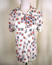 vtg 60s 70s Arnel Triacetate silky Ladies Disco Shirt geometric pattern L 16