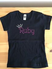 American Apparel Black Sz 4 youth short sleeve tee Name RUBY in hot pink bling