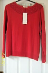 """LADIES RED PER UNA JUMPER SIZE 16 ROUND NECK + PATTERN LONG SLEEVE 23"""" LONG BNWT"""