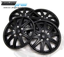 "Hubcap 15"" Inch Wheel Rim Skin Cover 4pcs Set Matte Black -Style 027 15 Inches-"