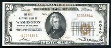 1929 $20 THE RIGGS NB OF WASHINGTON, D.C. NATIONAL CURRENCY CH #5046 AU (C)