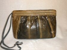 VINTAGE ASPECTS GREEN SNAKESKIN & LEATHER SHOULDER BAG/CLUTCH, GREAT SHINE!