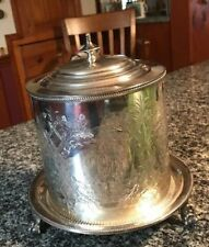 LOVELY ANTIQUE SILVERPLATE BISCUIT TIN, FINE CONDITION! BALL & CLAW FEET!
