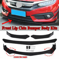 Universal Car Front Lower Bumper Lip Shovel Chin Body Kit Black Side Spoiler