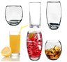 6pc Tumbler Highball Lowball Curved Glass Set Water Juice Whiskey Glasses Clear