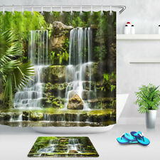 Green Jungle Stones Waterfall Landscape Shower Curtain Set Waterproof Fabric 72""