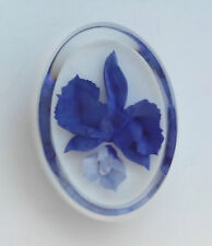 Carved Brooch Pin Royal Blue Flower Layered White & Clear Ice plastic Reverse