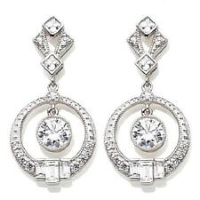 XAVIER 3.20CT ABSOLUTE STERLING SILVER CIRCLE DROP EARRINGS HSN SOLD OUT