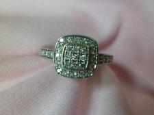 ladies 14k white gold round brilliant cut diamond halo ring size 8 1/2