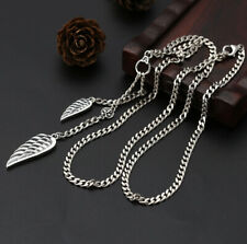 I07 Necklace Wings Angel Memento Mori Flat Armoured Chain Silver 925