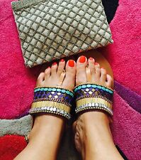 ZARA Genuine Leather Embroidered Beaded Flat Sandals UK 8 Or 7.5 Euro 41