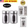 2 Pack Salt and Pepper Shakers Stainless Steel Glass Set-Elegant Design