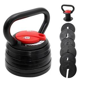 Adjustable Kettlebell 3-18kg 7 Weight Selections Cast Iron Home Workout Gym UK