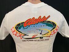 Aloha Airlines Vintage 2000 Hawaii Hawaiian Aviation Airplane White S Small Tee