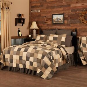 Country Block Patchwork King Quilt Hand-Stitched Cream Tan Black Kettle Grove