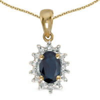 "10k Yellow Gold Oval Sapphire And Diamond Pendant with 16"" Chain"