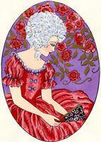1930s French Pochoir Print Young Woman White Hair Fashion Roses Fan Jacquelyn
