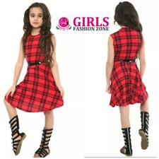 Girls Tartan Print Sleeveless Skater Dress with Belt