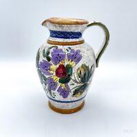 Vintage Keramikvase, Blumenvase, Krug, Handbemalt mit Blumendekor - 15,5cm