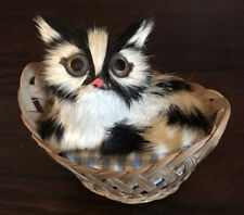 Black,& White Furry Cat Figurine With Gingham Cushioned Basket Bed Adorable