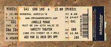 Ticket Stub Janelle Monae Live Concert Minneapolis 3/31/2010 Varsity Theater